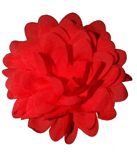 Ruffle Soft Chiffon Flower - Red-